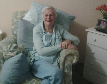 Dulcie relaxing in her room after winning the Frail Care Residents Race